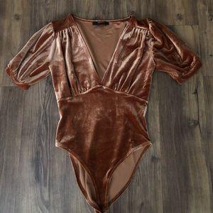 Velvet V Neck bodysuit